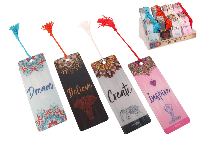 15CM 3D INSPIRATIONAL BOOKMARKS 4 ASSTD (IN DISPLAY)
