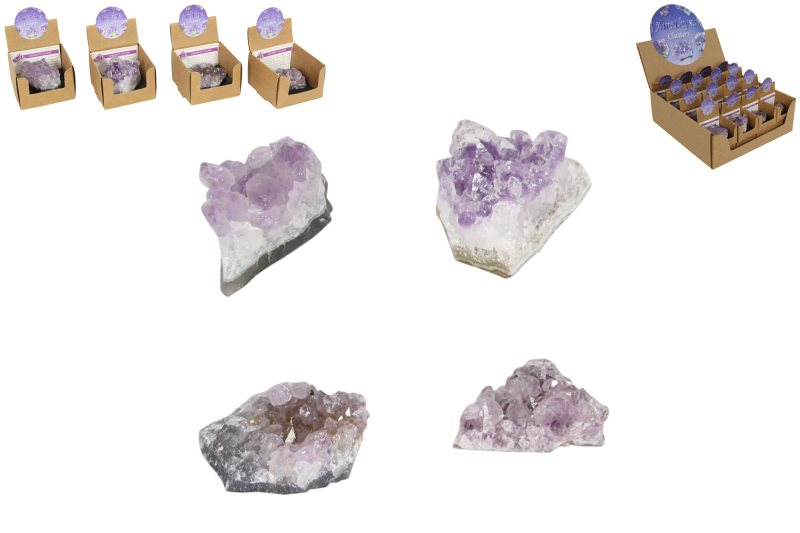 (G/BOX) AMETHYST CLUSTERS  (AVERAGE 4-5CM)