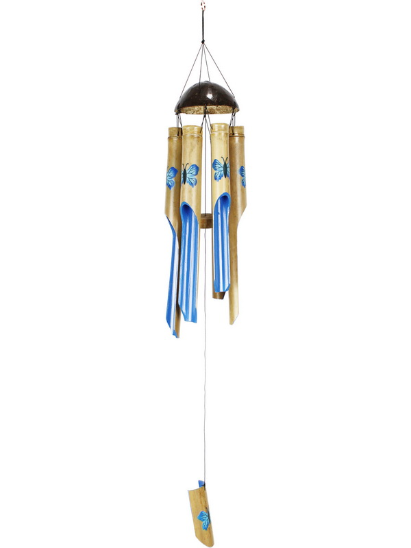 6 TUBE BAMBOO BLUE BUTTERFLY WIND CHIME