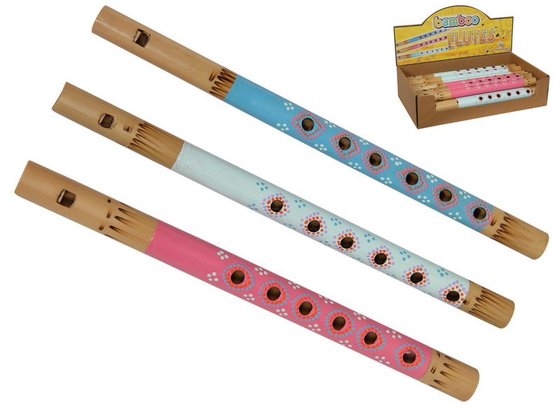 *COLOURED BAMBOO FLUTE WITH DOTS  3 ASSTD (IN DISPLAY)