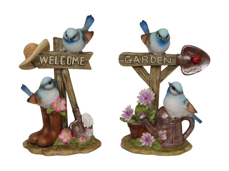 16CM BLUE BIRDS IN GARDEN 2 ASSTD