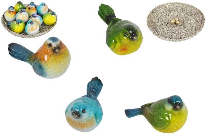 (G/BOX) 10CM MARBLE BIRDS IN NEST DISPLAY 4 ASSTD (36=FREE DISPLAY)