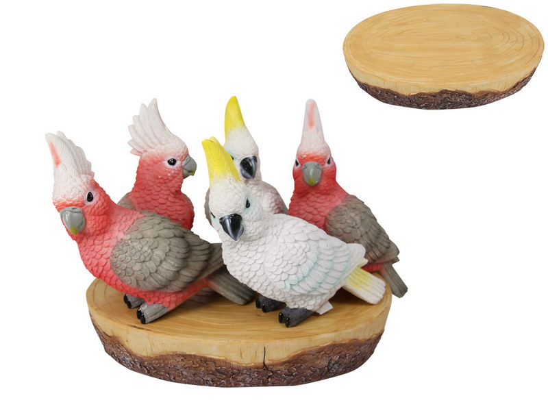 20CM COCKATOO & GALAH/PARROT ON DISPLAY (24=FREE DISPLAY)
