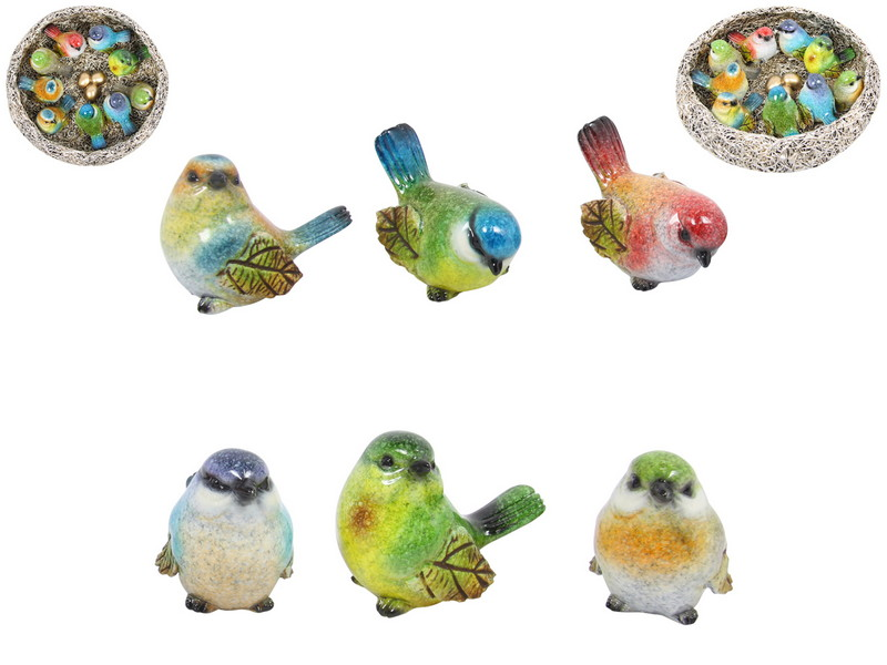 (G/BOX) 5CM MARBLE BIRDS IN DISPLAY NEST 18 ASSTD (36=FREE DISPLAY)