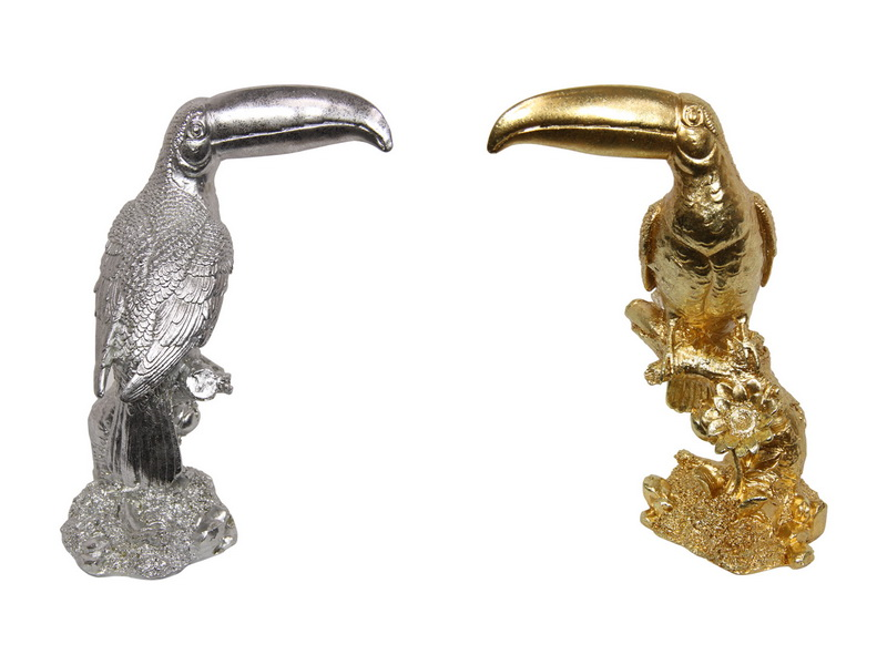 29CM GOLD AND SILVER PLATED TOUCAN 2 ASSTD