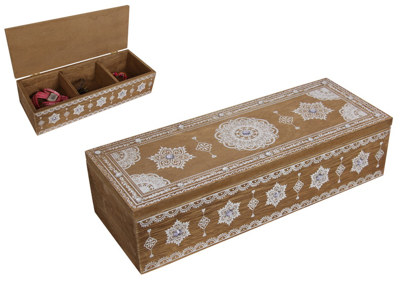 24CM BOHO TRINKET BOX WITH TRIPLE DIVIDERS
