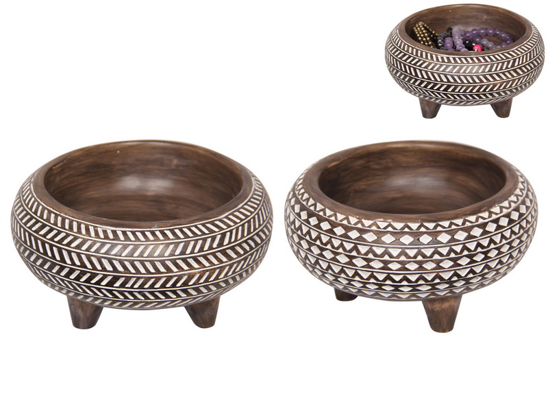 15CM BOHO TRIBAL AFRICAN DECOR BOWL 2 ASSTD