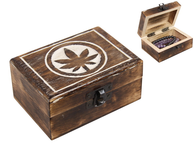 12x9x5CM MANGO WOOD BOX WITH POT LEAF DESIGN