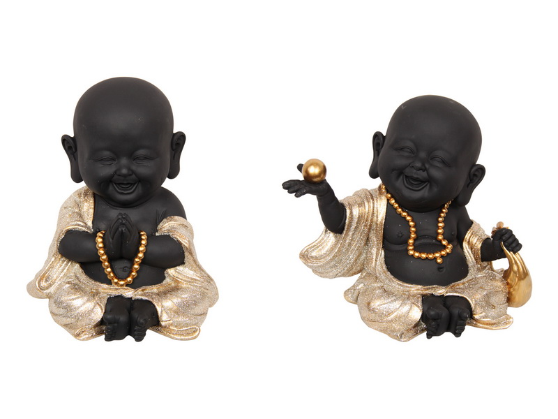 18CM BLACK/GOLD HAPPY BUDDHA MONKS 2 ASSTD