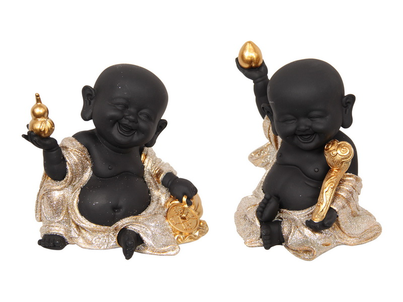 13CM BLACK/GOLD HAPPY BUDDHA MONKS 2 ASSTD