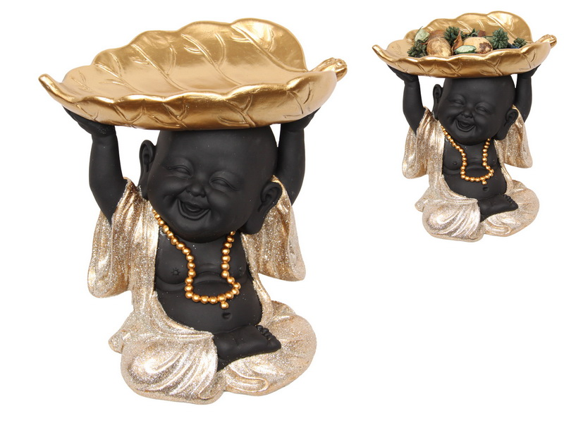 21CM BLACK/GOLD HAPPY BUDDHA WITH LEAF