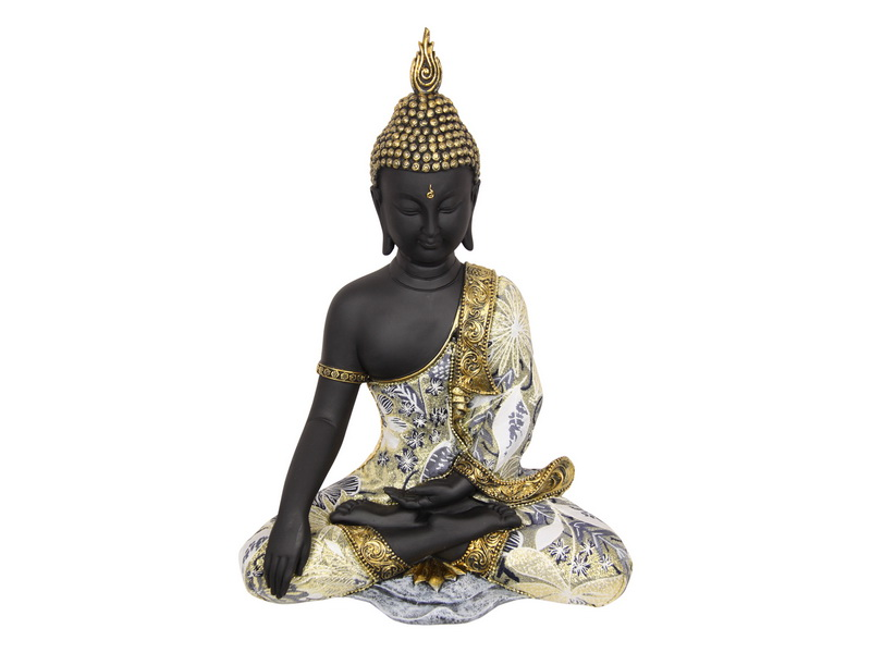 37CM BUDDHA IN COLOURED BLUE/GOLD ROBE