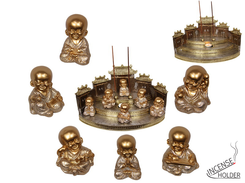 7CM LUCKY GOLD BUDDHA MONK 6 ASSTD (36=FREE DISPLAY)
