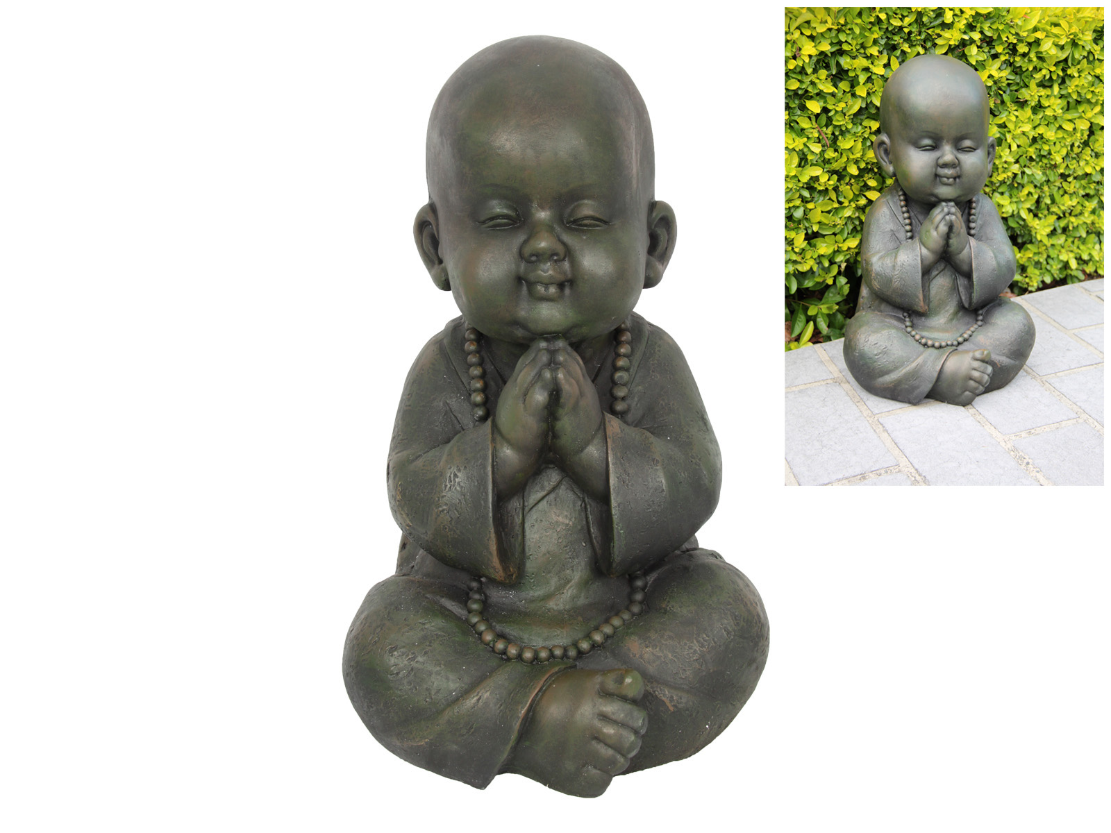 44CM SITTING GARDEN BUDDHA PRAYING MONK