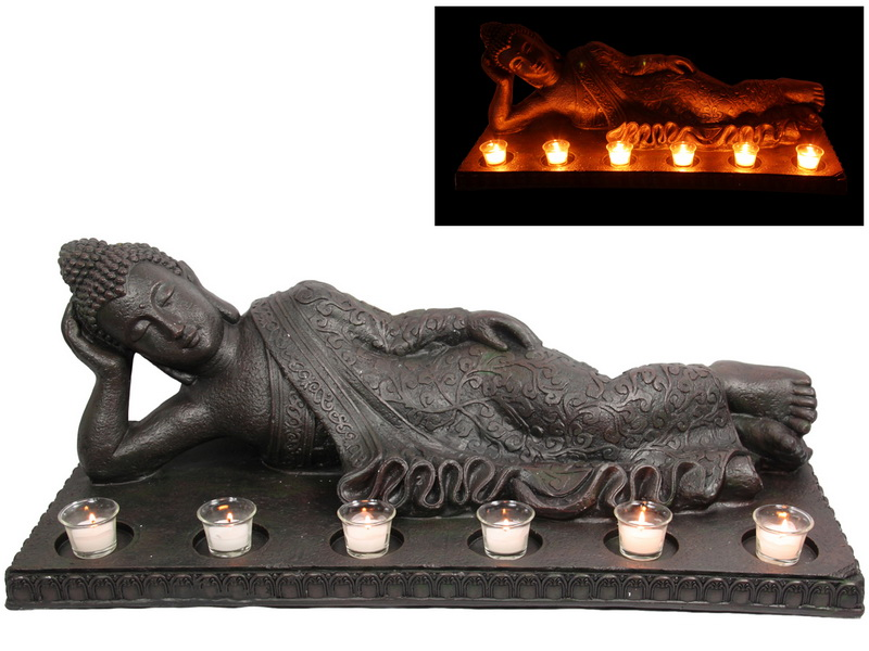 86CM LYING DOWN RULAI BUDDHA WITH TEALIGHT HOLDERS