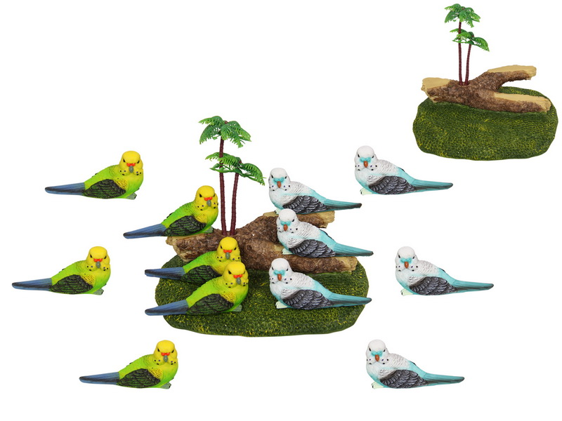 10CM BUDGIE BIRD ON DISPLAY STAND 4 ASSTD (36=FREE DISPLAY)