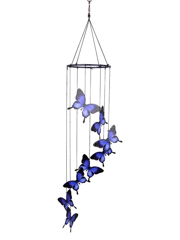 METAL 8 PIECE BLUE ULYSSES BUTTERFLY WIND CHIME