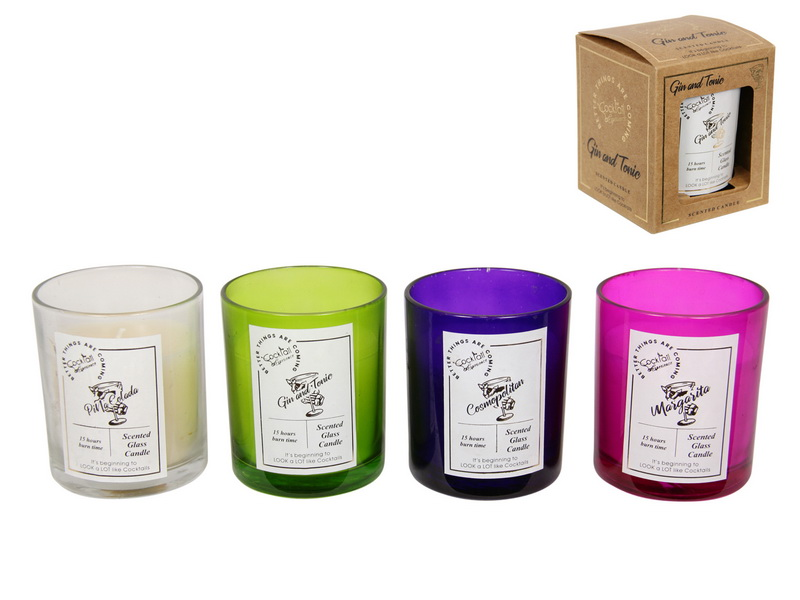 COCKTAIL FLAVOURED CANDLES- MARGARITA MADNESS, GORGEOUS GIN AND TONIC, PARTY PINA COLADA, CHATTY COSMOPOLITAN 9CM 4 ASSTD IN GIFT BOX