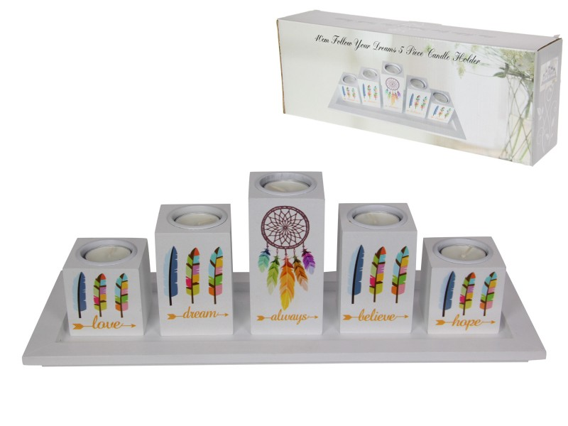 40CM FOLLOW YOUR DREAMS 5PC CANDLE HOLDER (GIFT BOX)