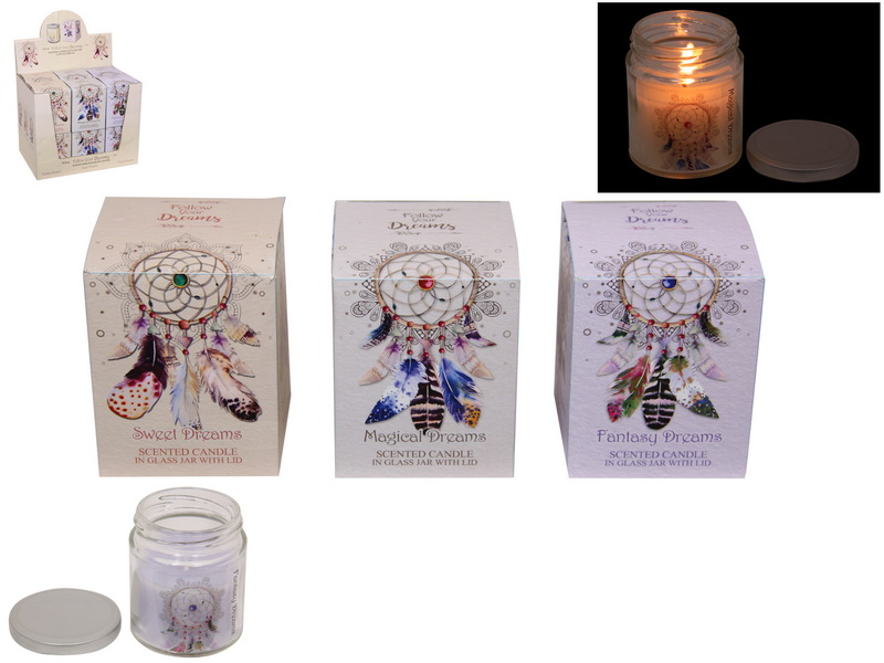 FOLLOW YOUR DREAMS SCENTED CANDLES 3 ASSTD IN DISPLAY