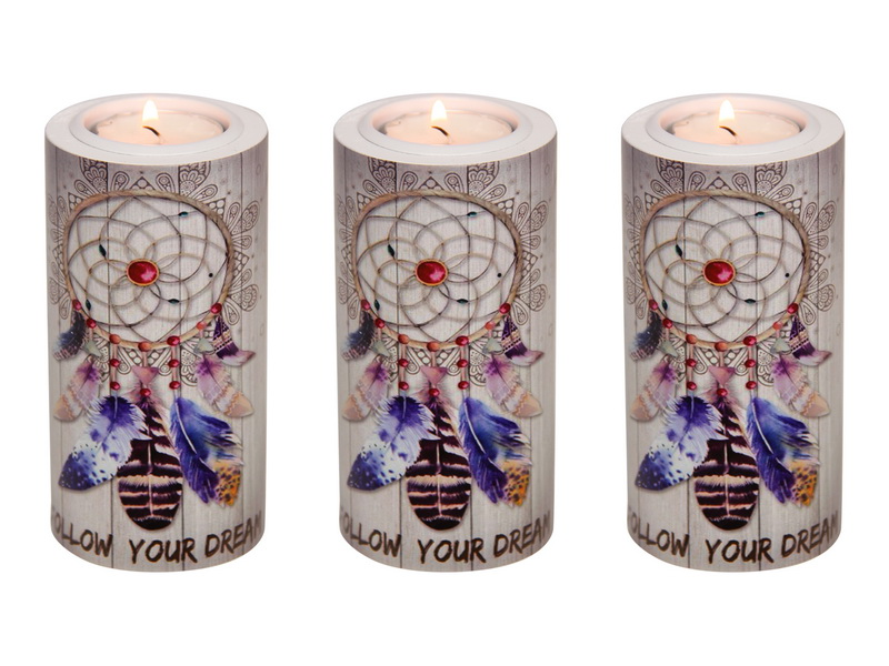 12CM ROUND FOLLOW YOUR DREAMS TEALIGHT HOLDER