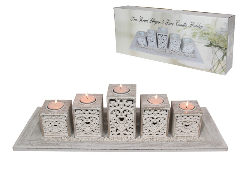 50CM HEART FILIGREE 5 PIECE CANDLE HOLDER IN GIFT BOX