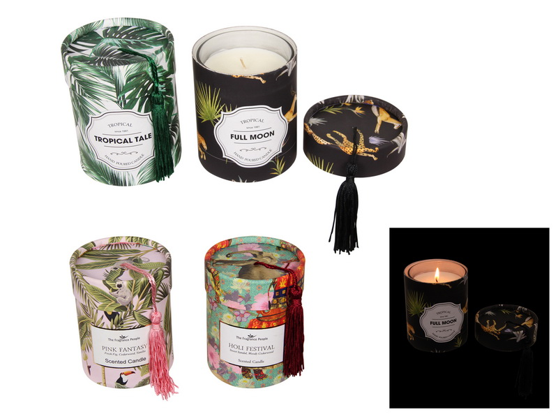 11CM RAINFOREST PREMIUM FRAGRANCE CANDLE WITH TASSLE 4 ASSTD IN GIFT BOX