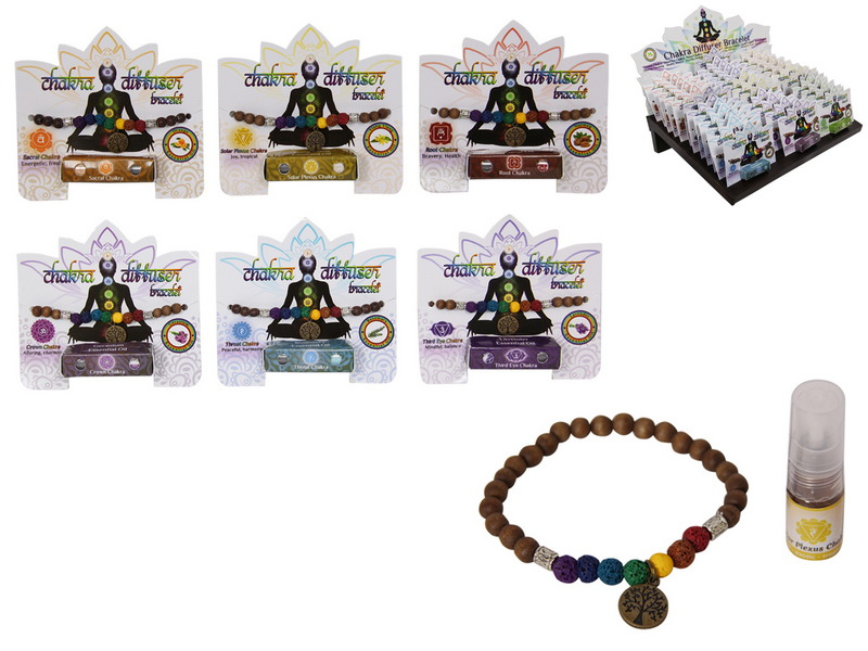 AROMATHERAPY OIL DIFFUSER BRACELET WITH CHAKRA DESIGN 7 ASSTD IN DISPLAY