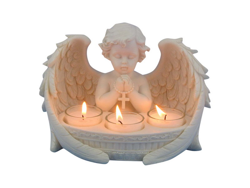 21CM PRAYING CHERUB WITH 3 TEALIGHT CANDLE HOLDER