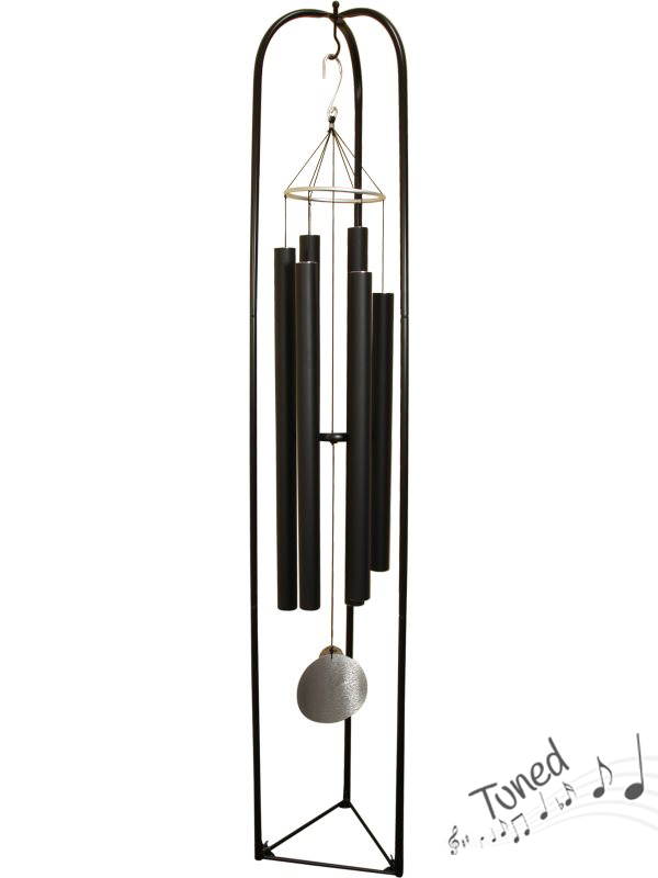 "(G/BOX) 165CM ""NATURE'S MELODY"" BLACK TUNED WIND CHIME  WITH STAND (1=FREE DISPLAY STAND)"