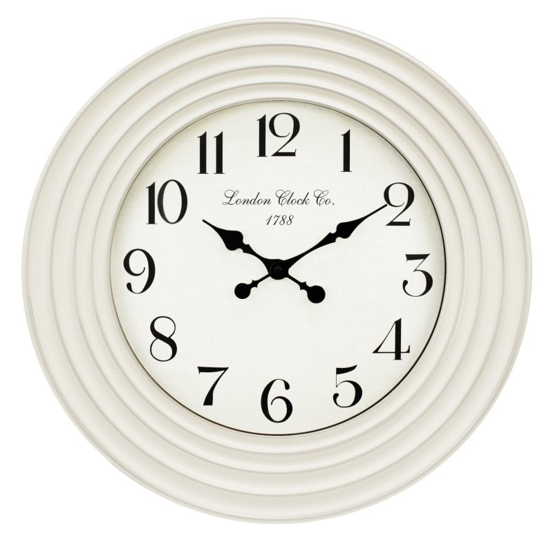 57CM WHITE CLOCK WITH RIPPLED DECORATIVE EDGES (WINDOW BOX)