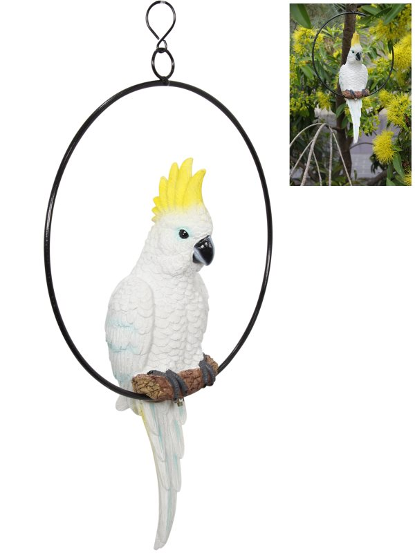 43CM COCKATOO IN 25CM RING (KNOCK DOWN)