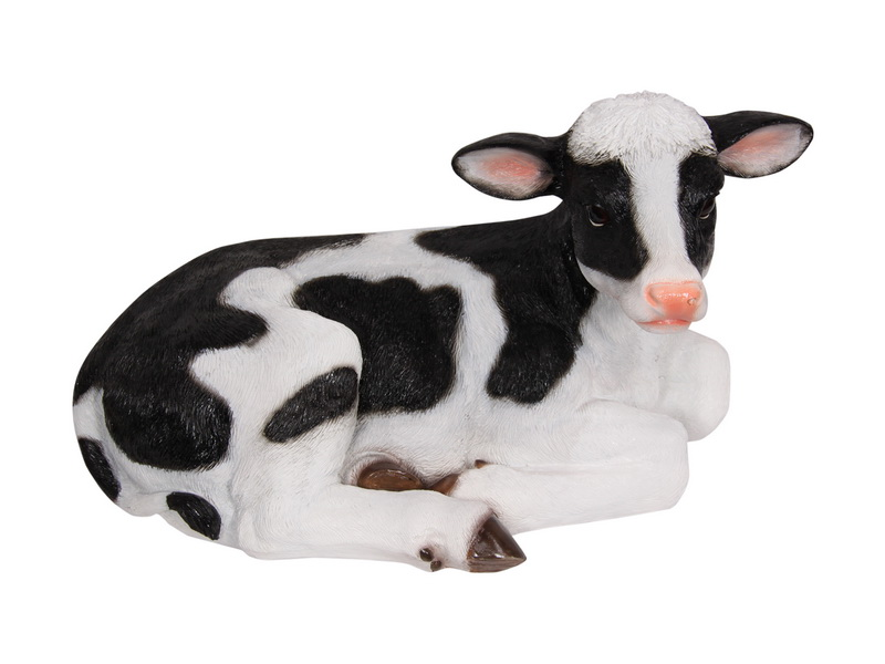 46CM SITTING BLACK AND WHITE COW