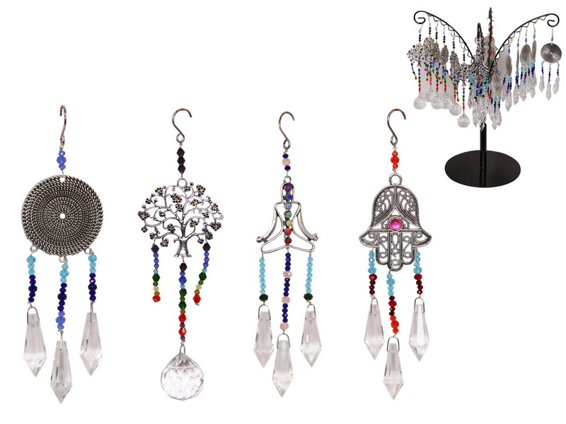 WELLNESS CRYSTAL SUNCATCHER 4 ASSTD (36=FREE DISPLAY)