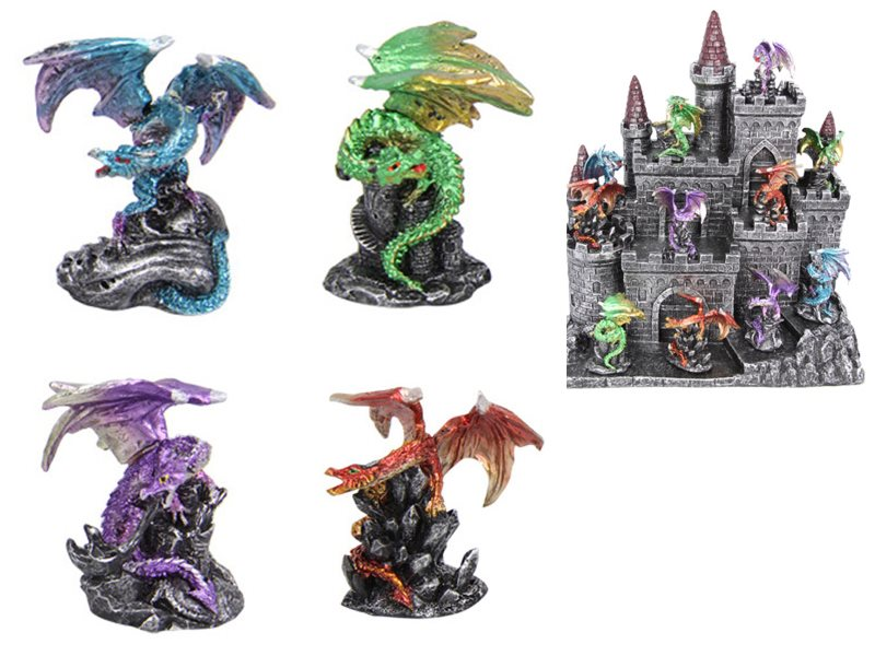 (G/BOX) 6CM COLOURED DRAGON ON DISPLAY STAND 12 ASSTD (48=FREE DISPLAY)