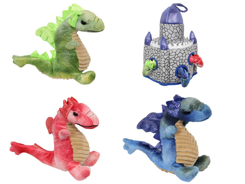 (G/BOX) 20CM PLUSH BABY DRAGONS IN CASTLE (36=FREE DISPLAY)