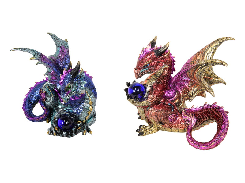 20CM RED/BLUE DRAGON WITH BALL 2 ASSTD