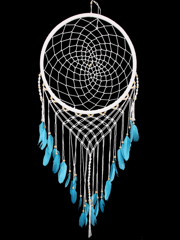 52CM WHITE MACRAME DREAM CATCHER WITH BLUE FEATURES