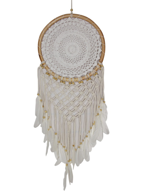 32CM RATTAN WHITE DREAM CATCHER