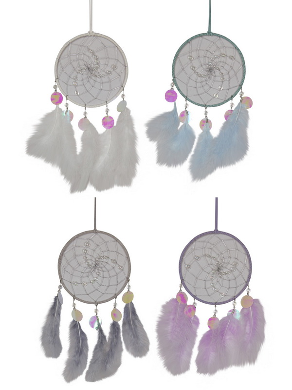 16CM SILVER BEADED DREAM CATCHER 4 ASSTD