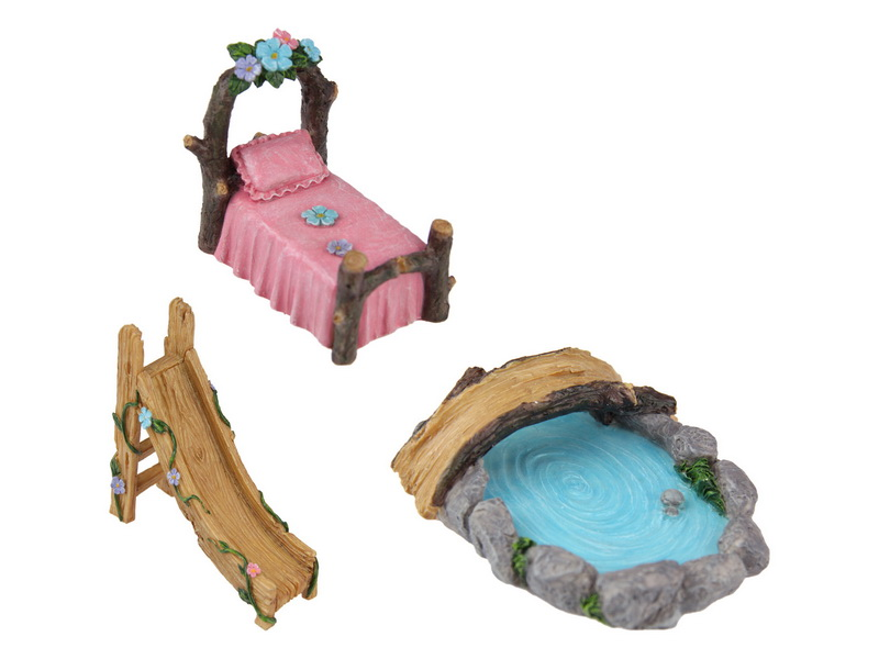 FAIRY GARDEN ACCESSORIES -BED/SLIDE/POND