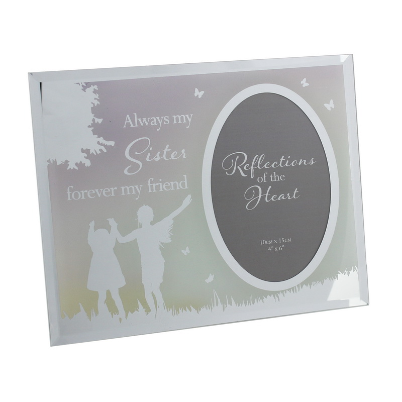 "4"" X 6"" - REFLECTIONS OF THE HEART OVAL MIRRORED FRAME - SISTER (GIFT BOX)"