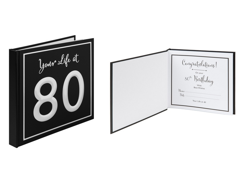 25X24CM  BLACK & SILVER SCRAP BOOK - YOUR LIFE AT 80 (GIFT BOX)