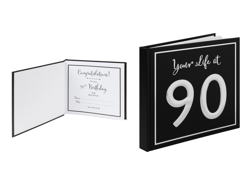 25X24CM  BLACK & SILVER SCRAP BOOK - YOUR LIFE AT 90 (GIFT BOX)