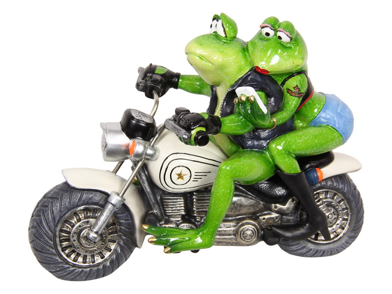 25CM BIKER FROG COUPLE CRUISING