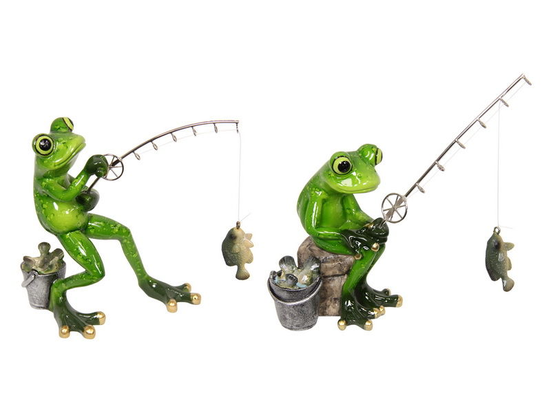 16CM FROG FISHERMAN MARBLE FINISH 2 ASSTD