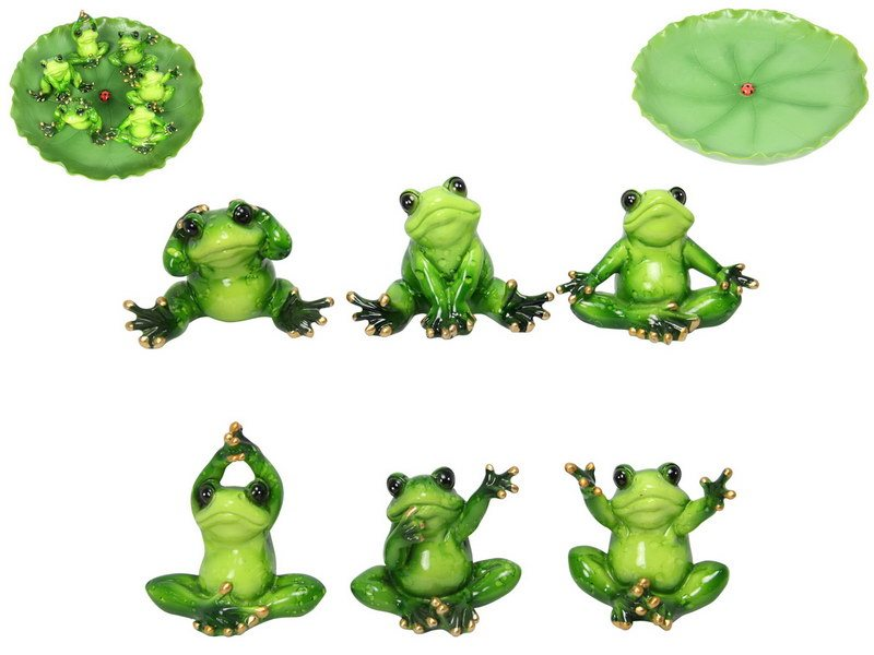 6CM MARBLE LOOK FROGS IN LILYPAD DISPLAY STAND (36=FREE DISPLAY)