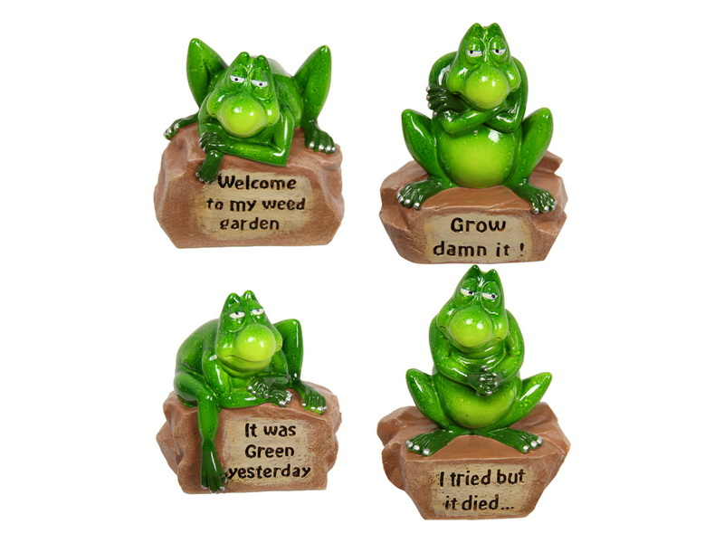 12CM GREEN MARBLE GARDEN FROG WITH FUNNY WORDING 4 ASSTD