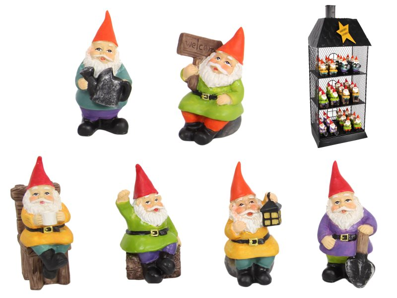(G/BOX) 7CM FAIRY GARDEN GNOMES WITH DISPLAY 6 ASSTD (72=FREE DISPLAY)
