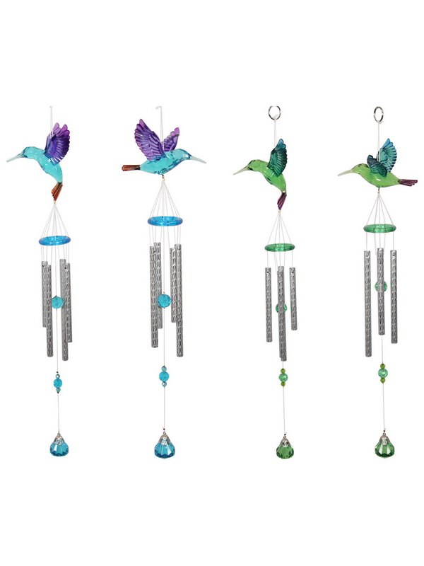 ACRYLIC HUMMING BIRD WIND CHIME 4 ASSTD